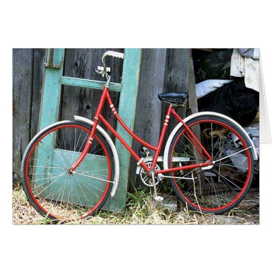 Tarjeta Vertiente vieja de ciclo que monta en bicicleta