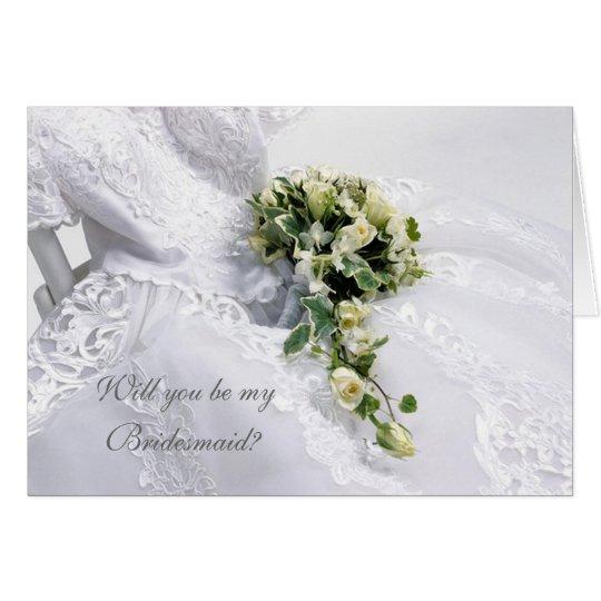 Tarjeta Vestido de boda y dama de honor de los rosas