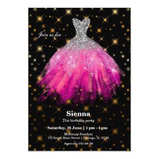 Tarjeta Vestidos de la acuarela del purpurina