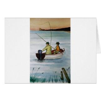 Tarjeta Viaje de pesca del padre y del hijo