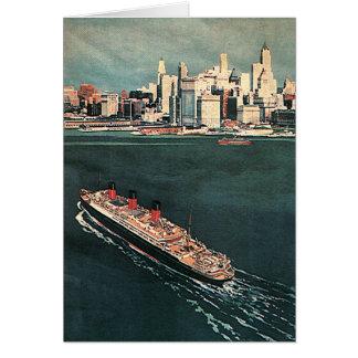 Tarjeta Viaje del vintage en barco de cruceros a New York