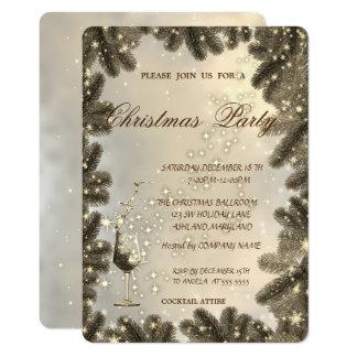 Tarjeta Vidrio, oro, ramas de árbol, fiesta de Navidad