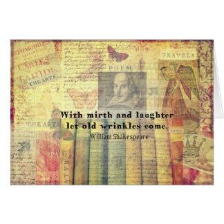 Tarjeta Vieja cita de Shakespeare de las arrugas del