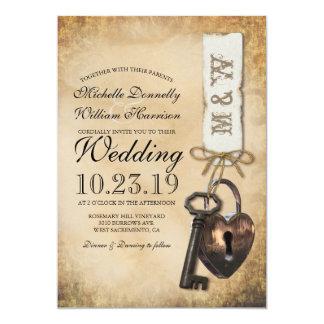 Tarjeta Viejo boda rústico de la llave maestra del gótico