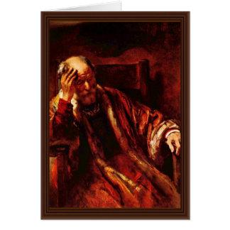 Tarjeta Viejo hombre en la butaca de Rembrandt Harmensz.