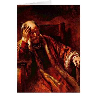Tarjeta Viejo hombre en la butaca de Rembrandt Van Rijn
