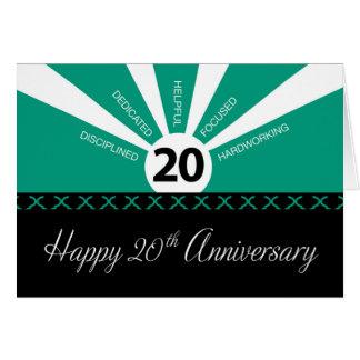 Tarjeta vigésimo Aniversario del empleado del negocio del