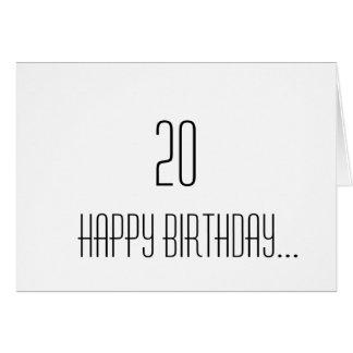 Tarjeta vigésimo Cumpleaños
