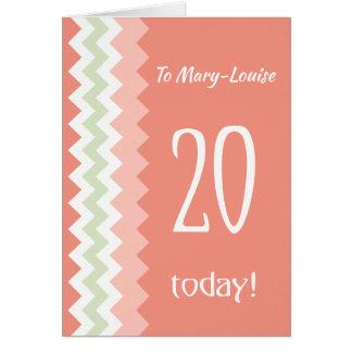 Tarjeta Vigésimo cumpleaños del frente de encargo, coral,