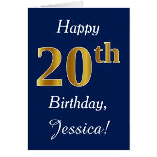 Tarjeta Vigésimo cumpleaños del oro azul, falso + Nombre