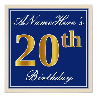 Tarjeta Vigésimo cumpleaños del oro elegante, azul, falso