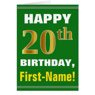Tarjeta Vigésimo cumpleaños del oro intrépido, verde,