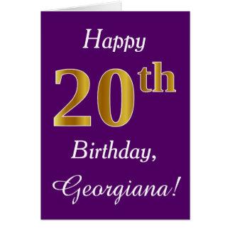 Tarjeta Vigésimo cumpleaños del oro púrpura, falso +