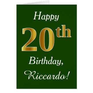 Tarjeta Vigésimo cumpleaños del oro verde, falso + Nombre