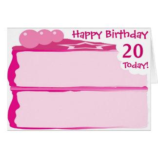 Tarjeta Vigésimo cumpleaños feliz