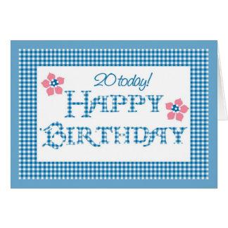 Tarjeta vigésimo Cumpleaños, modelo azul de la guinga del