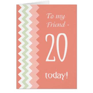 Tarjeta vigésimo Cumpleaños para el amigo, coral, galones