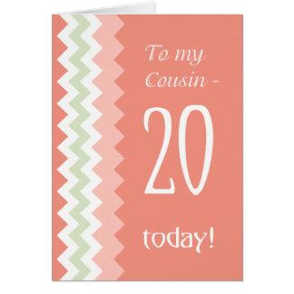Tarjeta vigésimo Cumpleaños para el primo, coral, galones