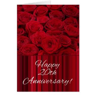 Tarjeta Vigésimos rosas felices del aniversario