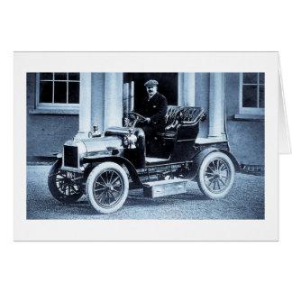 Tarjeta Vintage 1907 del motorista del conductor de coche