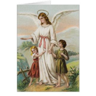 Tarjeta Vintage ángeles gel de protección niño y dos