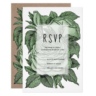 Tarjeta Vintage antiguo de los rosas verdes que casa RSVP
