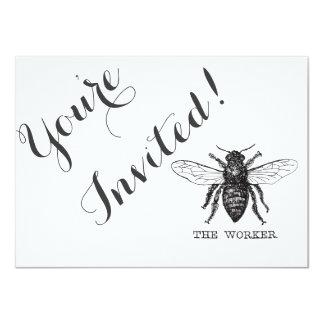 Tarjeta Vintage blanco y negro de la abeja de trabajador