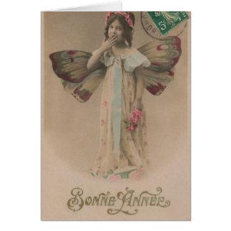 Tarjeta Vintage de hadas francés del chica de la Feliz Año