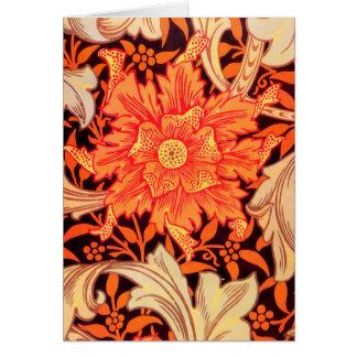 Tarjeta Vintage de la maravilla de William Morris floral