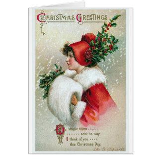 """Tarjeta """"Vintage de los saludos del navidad"""""""