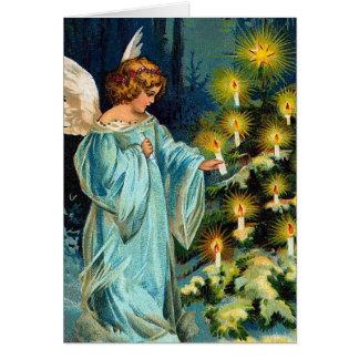 """Tarjeta Vintage del """"ángel y del árbol de navidad"""""""