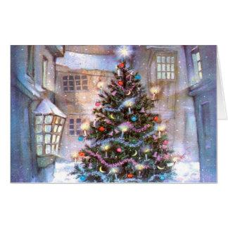 Tarjeta Vintage del árbol de navidad