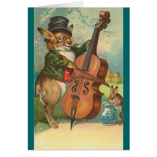 Tarjeta Vintage - el violoncelo que juega el conejito