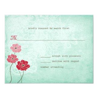 Tarjeta Vintage floral y respuesta de las hojas