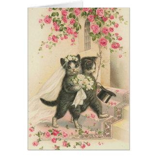 Tarjeta Vintage - los gatos del boda