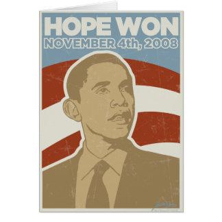"""Tarjeta Vintage Obama ganado """"esperanza"""""""