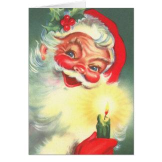 Tarjeta Vintage Papá Noel con la vela