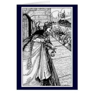 Tarjeta Vintage - rey Arturo Sees Guinevere