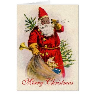 Tarjeta Vintage Santa negro