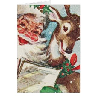 Tarjeta Vintage Santa y reno
