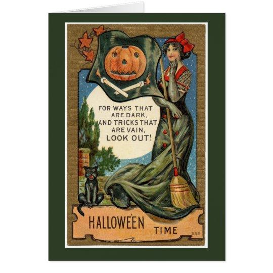 """Tarjeta Vintage """"tiempo de Halloween """""""