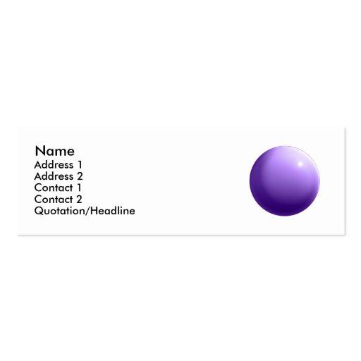 Tarjeta violeta de la bola tarjeta de visita