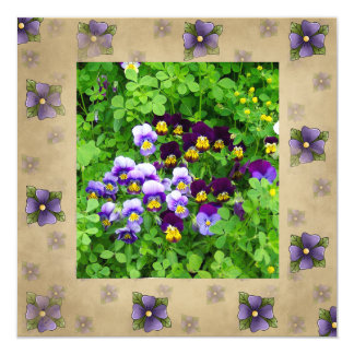 Tarjeta violeta de la escritura de la biblia invitación 13,3 cm x 13,3cm