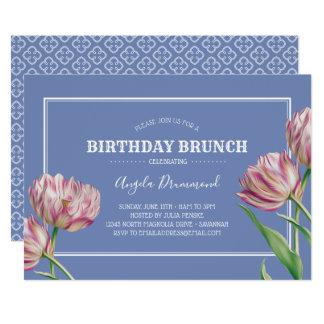 Tarjeta Violeta del brunch del cumpleaños de la flor del