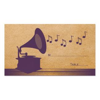 Tarjeta violeta del lugar del gramófono del tarjetas de visita