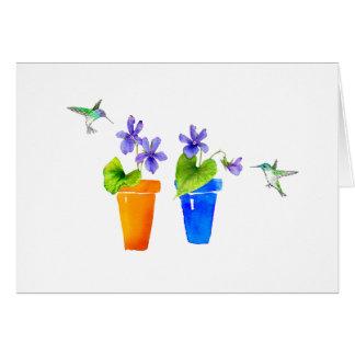 Tarjeta Violetas y colibríes