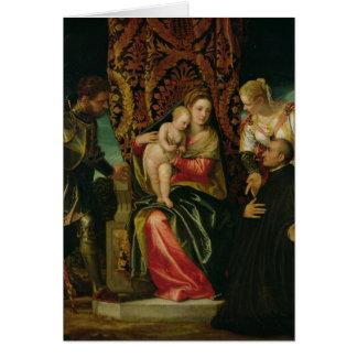 Tarjeta Virgen y niño con un monje benedictino
