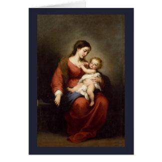 Tarjeta Virgen y niño de Cristo