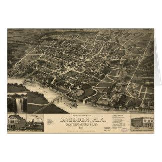 Tarjeta Vista aérea de Gadsden, Alabama (1887)