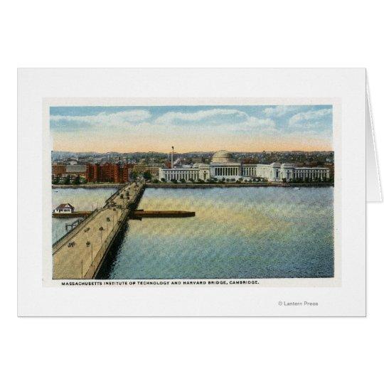 Tarjeta Vista general del puente del MIT y de Harvard,